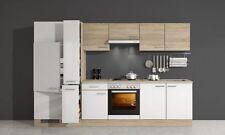Küchenzeile 300 cm Sonoma Eiche Weiß mit Geräten - Salerno
