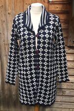 Preview Scotland Navy Long Diamond Knit Button Cardigan Jacket (M) 12/14 Argyle