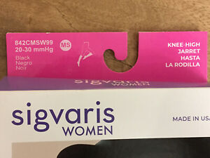 SIGVARIS WOMEN 842C SOFT OPAQUE 20-30 mmHg KNEE HIGH COMPRESSION STOCKINGS BLACK