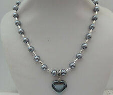 A 58 inch Glass Bead Necklace Grey pearl colour   n1148g