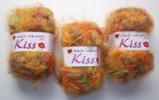 3 Skeins New Red Heart KISS Eyelash Yarn Color 3530 ELF Made in Italy Earth Tone