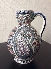 Cruche pichet en faïence décorée de Gien modèle Cachemire Fin XXème