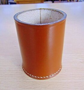 VINTAGE BROWN LEATHER DICE CUP SHAKER