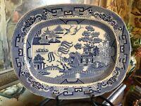 Antique English Blue Willow Staffordshire 19thC Platter Blue & White Stone China