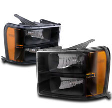 FOR 07-13 GMC SIERRA 1500 2500 3500 HD REPLACEMENT HEADLIGHTS LAMPS AMBER BLACK