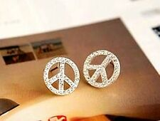 Silver tone crystal peace sign stud earrings