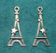 Pendant Eiffel Tower Charms Lot of 2 FREE US SHIPPING French European Charm Love
