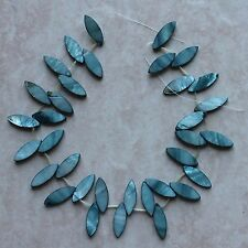 "10x25mm Teal Mother of Pearl Shell Horse Eye Loose Beads 15.5"" Strand"