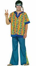 Hippy Costume Men's 3 Pc Multi Colored Wide Leg Pant Top & Headband Costume XL