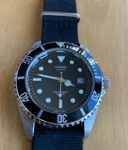 CASIO MTD-1010 Men's Watch (1346) Diver Style W/Black Dial - Black NATO Strap