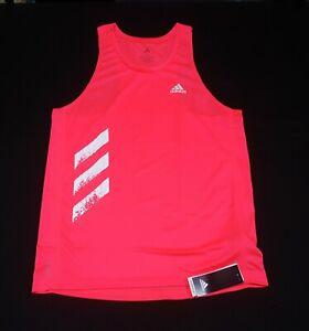 Adidas Mens Own The Run 3STRIPES  Singlet GC7896 Signal Pink