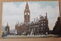 Postcard Manchester Town Hall Early Colour Card posted 1904