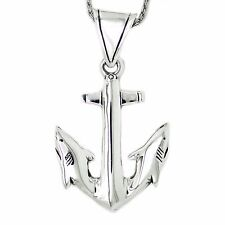 925 solid Sterling Silver large Anchor ending in Sharks pendant
