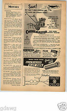 1952 PAPER AD Garden Tractor Choremaster Cultivator Lodge Shipley Mower Plow