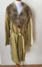 Vtg 24K Leather Dan Di Modes Fox Fur Collar Mustard Yellow Long Coat Trench M/L