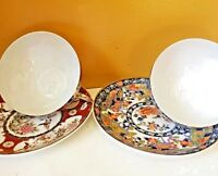"""Vintage Rare Kutani Japan Fine Porcelain Lithophane 2 Tea Cups & 5"""" Saucers 40's"""