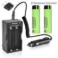 Charger W/Car charger & 2 x Panasonic NCR18650B Battery 3.7V 3400mAh Flat Top