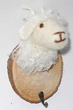 Kleiderhaken Garderobe Wandhaken aus  Filz+Holz : Schafbock - weiße Ziege