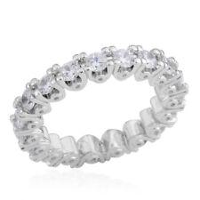 ETERNITY RING FULL SIMULATED DIAMOND BAND RING SIZE 9.5 WEDDING TRAVEL PRONG SET