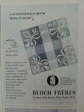 1952 Bloch Freres handkerchief from Paris Jacquard fil coupe vintage ad