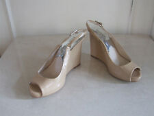 Michael Kors Stunnig Cream Patent Leather Wedge Slingback Sandals Shoes EU37 UK4