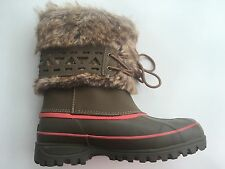 KHOMBU Women's Winter Snow boots brown /Red With Fake Fur Size 6