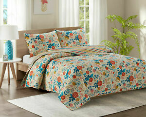 Single Size Quilt 2 Piece Quilted Bedspread Throw Comforter Set + 1 Pillowcase