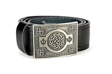 Celtic Knot Leather Kilt Belt and Buckle MG4 Antique Gunmetal