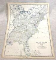 1861 Antik Map Of Die Ost Vereinigte Staaten Von America Hand- Farbig Johnston