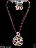 Parure, Collier, Boucle d'oreille cordon multicolore métal, bijou fantaisie neuf