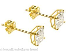 1x Pair of 9ct Yellow Gold 4mm Square CZ Gem Set Ear Studs Earrings + gift bag