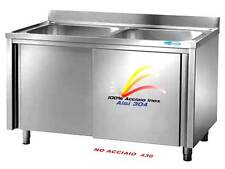 Lavello cm 140x60x85  in Acciaio Inox Lavatoio 2 Vasche  Armadiato Professionale