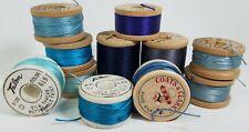 Lot 11 Vintage Silk Thread Spools Blue - Coats & Clark Belding Corticelli Talon