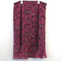Alfred Dunner Skirt Pink Black Lined Long Modest Career Elastic Waist Size 14