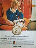 1961 Honeywell heating cooling thermostat blond white rotary dial telephone ad