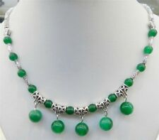 "LOVELY NATURAL GREEN JADE ROUND BEADS PENDANTS TIBET SILVER NECKLACE 18"" JN149"