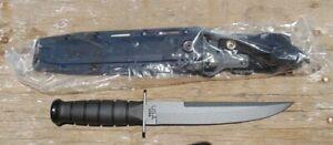 KA-BAR 1266 Full size Mod.Tanto Fixed Blade Knife w/Kydex sheath, NIB, free ship