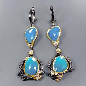 Handmade Fine art Turquoise Earrings Silver 925 Sterling   /E57084