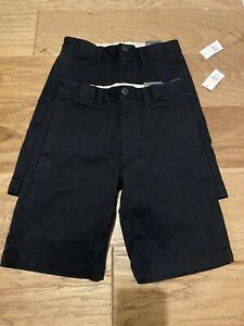 NEW! 2 Gap Khaki Chino Shorts NAVY Boys Sz 8