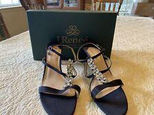 J. Renee MARICEL Crepe Satin Strappy Sandals Black Sz 13 W