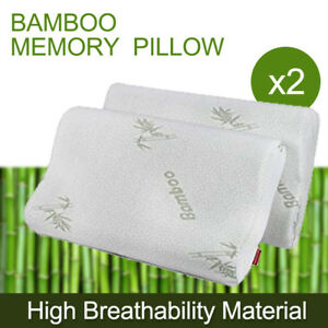 2x Luxury Firm Contour Memory Foam Fabric Fibre Bamboo Cover Bed Small Pillow