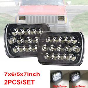 """5x7"""" 7x6"""" LED Headlight Hi-Lo Beam Black For Jeep Comanche MJ 86-92 Dodge w250"""