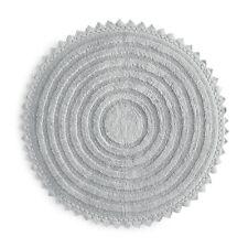 "NWT SKY Round Crochet Bath Floor Rug Round ~  White, Gray, and Blue ~ 32"" India"