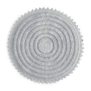 "NWT SKY Round Crochet Bath Floor Rug Round ~  Mineral Light Gray ~ 32"" ~ India"