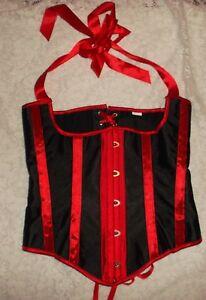 RED & BLACK steampunk Satin CORSET ties VICTORIAN  sz M bonus thong NEW
