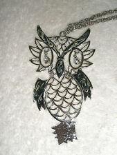 Vintage Silvertone Figural Owl Necklace Openwork Rhinestone Eyes Body Tail Move