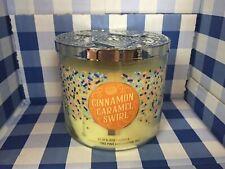Bath And Body Works Cinnamon Carmel Swirl 3 Wick Candle 14.5oz
