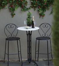 Bella 3 Piece Bar Patio Setting Marble Wrought Iron Garden Furniture Outdoor