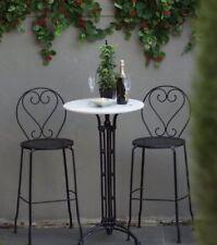 Bella 3 Piece Bar Patio Setting Marble Wrought Iron Garden Furniture Outdoor