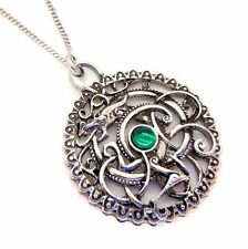 The Silbury Serpent Pendant Necklace Lost Treasures of Albion LT15 Green Crystal